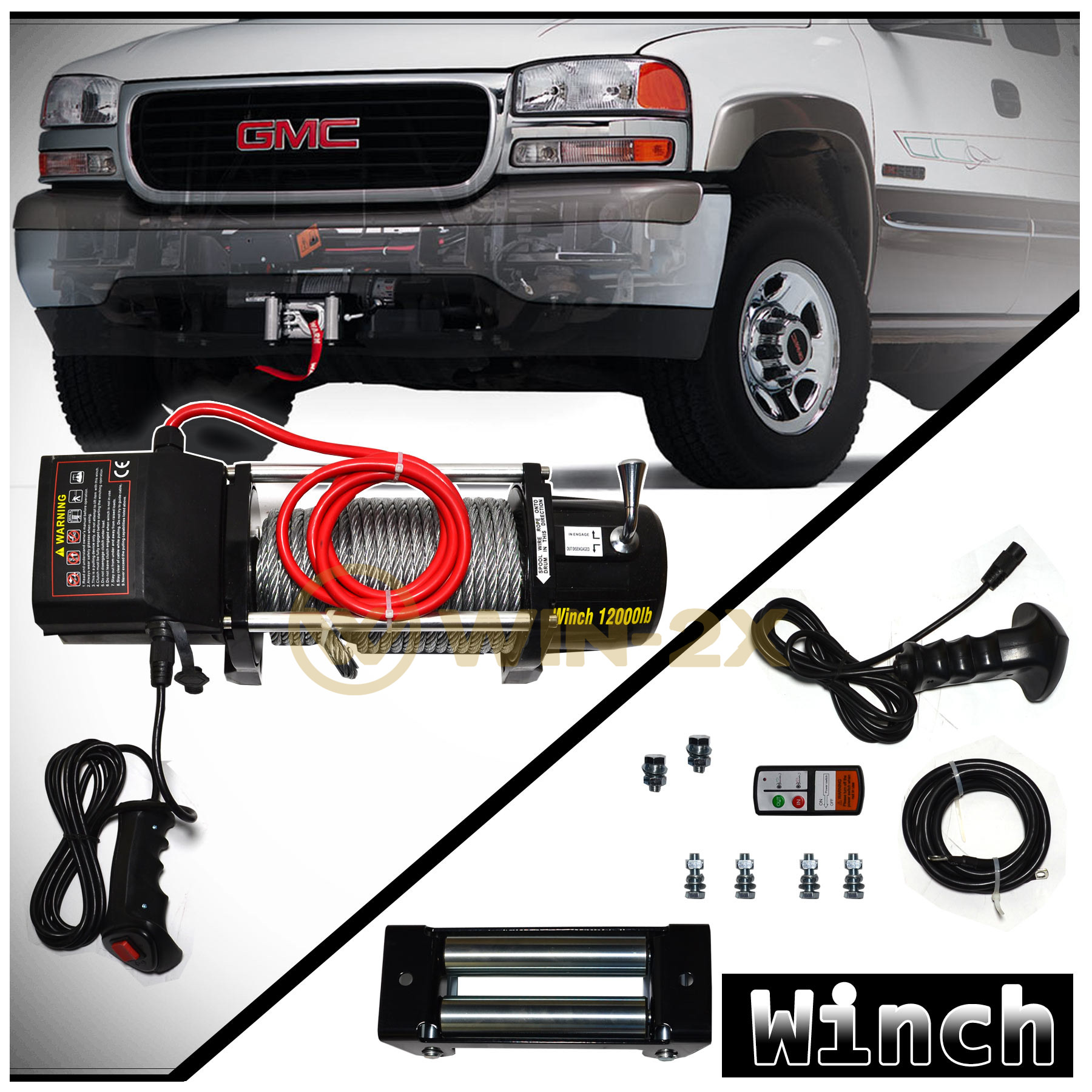 Detalles Acerca De Win 2x 12000lb 12v Electric Recovery Winch For Truck Suv Van Rv Trailer Bus Car