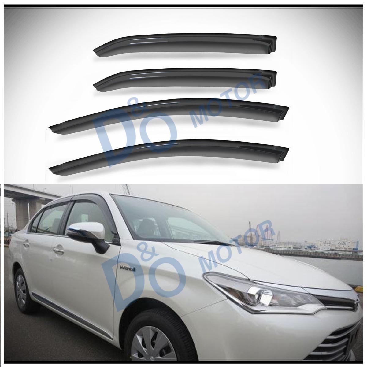 D/&O MOTOR 4pcs Front+Rear Smoke Sun//Rain Guard Outside Mount Tape-On Window Visors For 09-13 Toyota Corolla