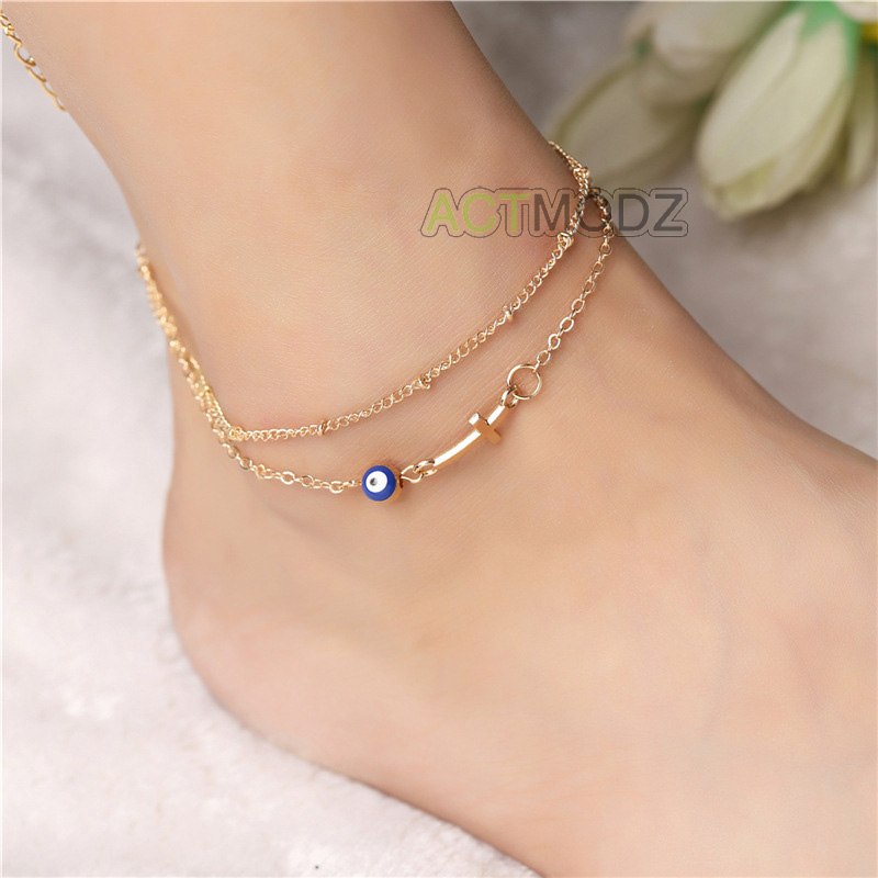 blue gold jewelry cross eye chain green evil inch anklet bracelet foot barefoot itm