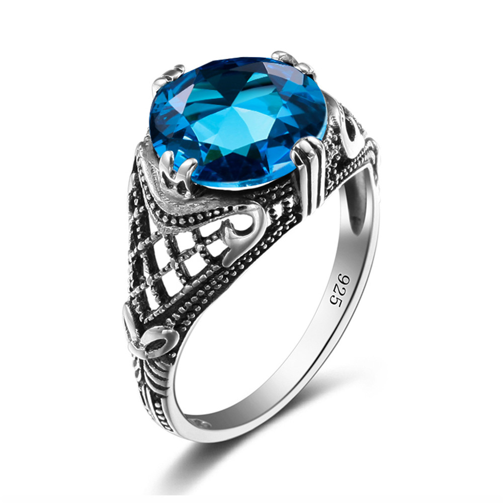 925 Silver Gemstone Ring Vintage Style Handmade Blue Stone Women