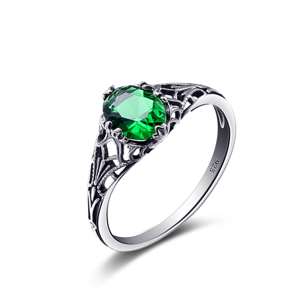 Gemstones For Rings: 925 Sterling Silver Ring Emerald Green Gemstone May
