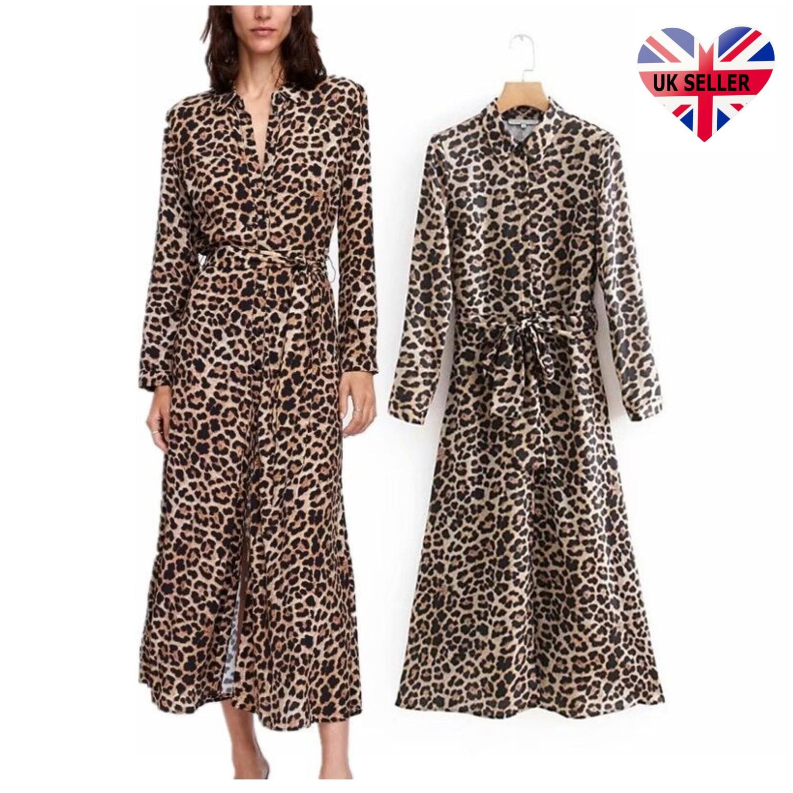 Retro Womens Leopard Print Shirt Dress Belt Lapel Maxi Long Sleeve Tops  Gifts UK 3a1ad2bf1f