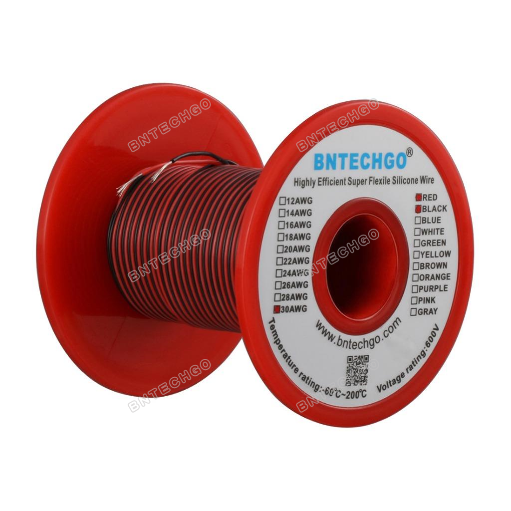 BNTECHGO 16 Gauge Silicone Wire Spool 50 feet Ultra Flexible High Temp 200 deg C 600V 16 AWG Silicone Wire 252 Strands of Tinned Copper Wire 25 ft Black and 25 ft Red Stranded Wire for Model Battery