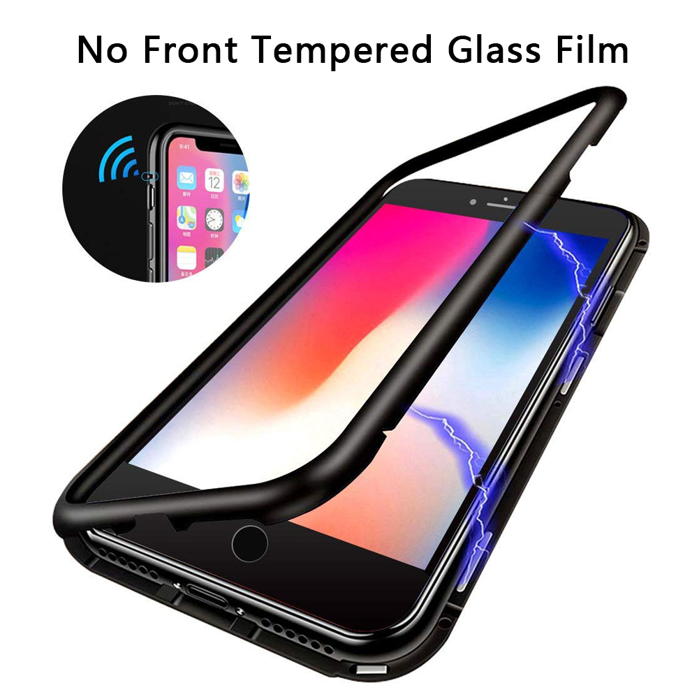 check out c78d5 9286b Details about For iPhone 8 7 Plus Magnetic Adsorption Bumper Tempered Glass  Back Case Cover