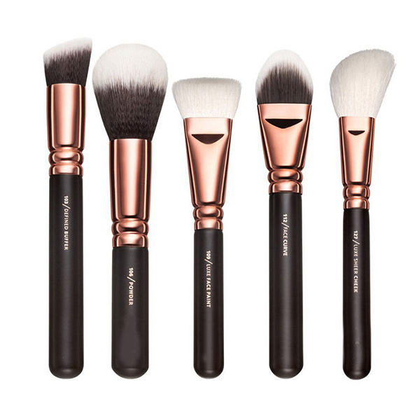15Pcs Makeup Brush Set Eye Complete Kit Cosmetic Powder Rose Golden With Case