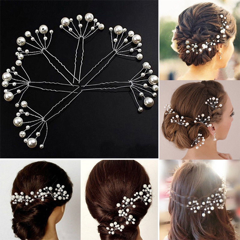2//5pcs Wedding Bridal Pearl Flower Crystal Rhinestone Hair Pins Bridesmaid Clips