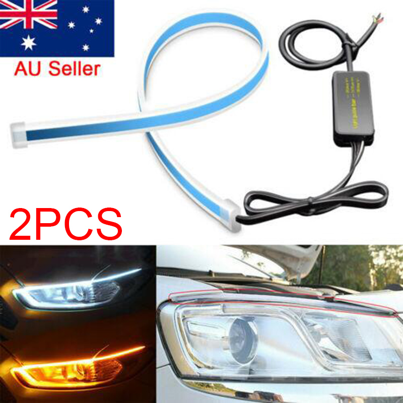 2x Sequential LED Strip Yellow Turn Signal Switchback Red Daytime Running Lights