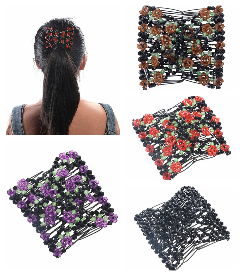 Womens Easy Magic Beads Double Hair Grip EZ Comb Clip Stretchy Hairpins Combs