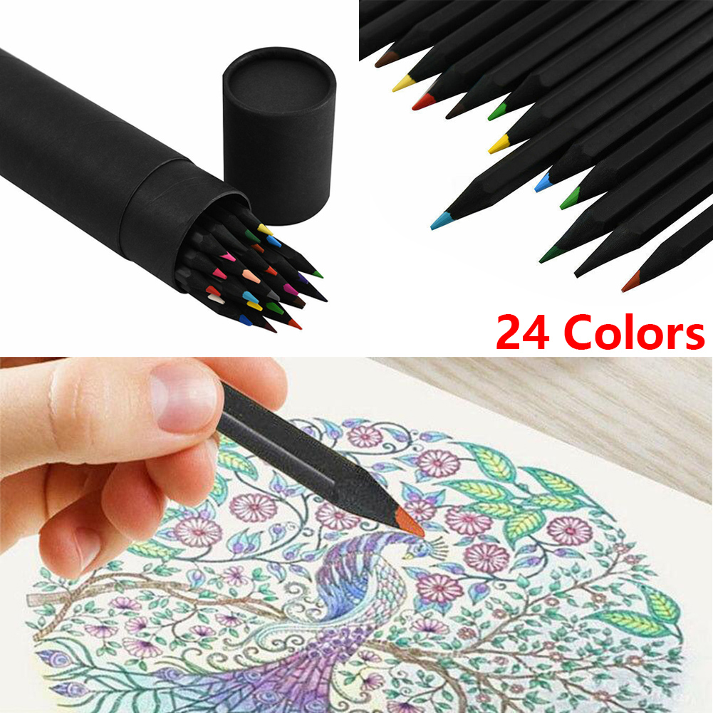 24 Colours Pencils Non-toxic Artist Colored Drawing Pencils Sketching