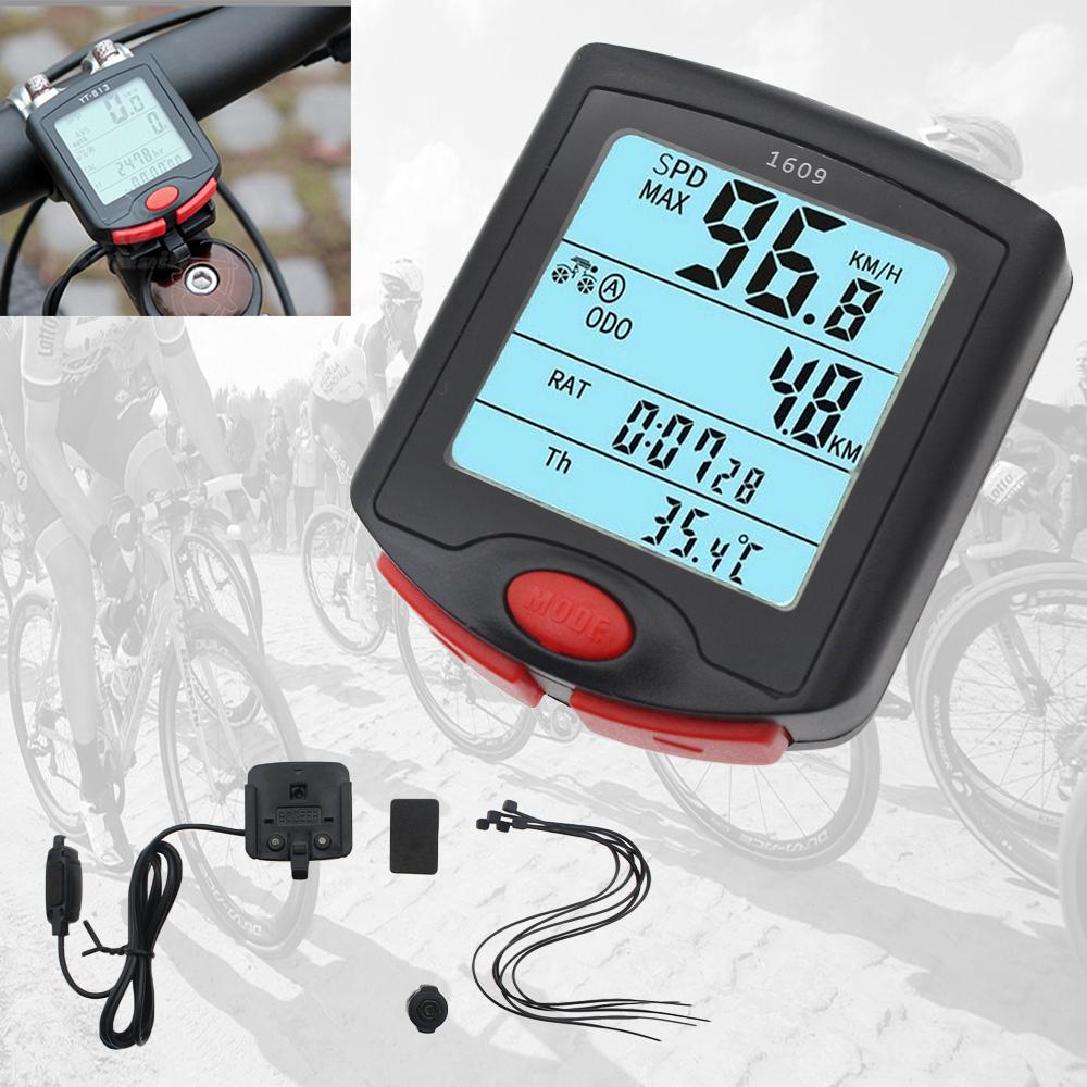 Waterproof Bicycle Speedometer Wired Cycle Bike Meter Computer Odometer LCD HU
