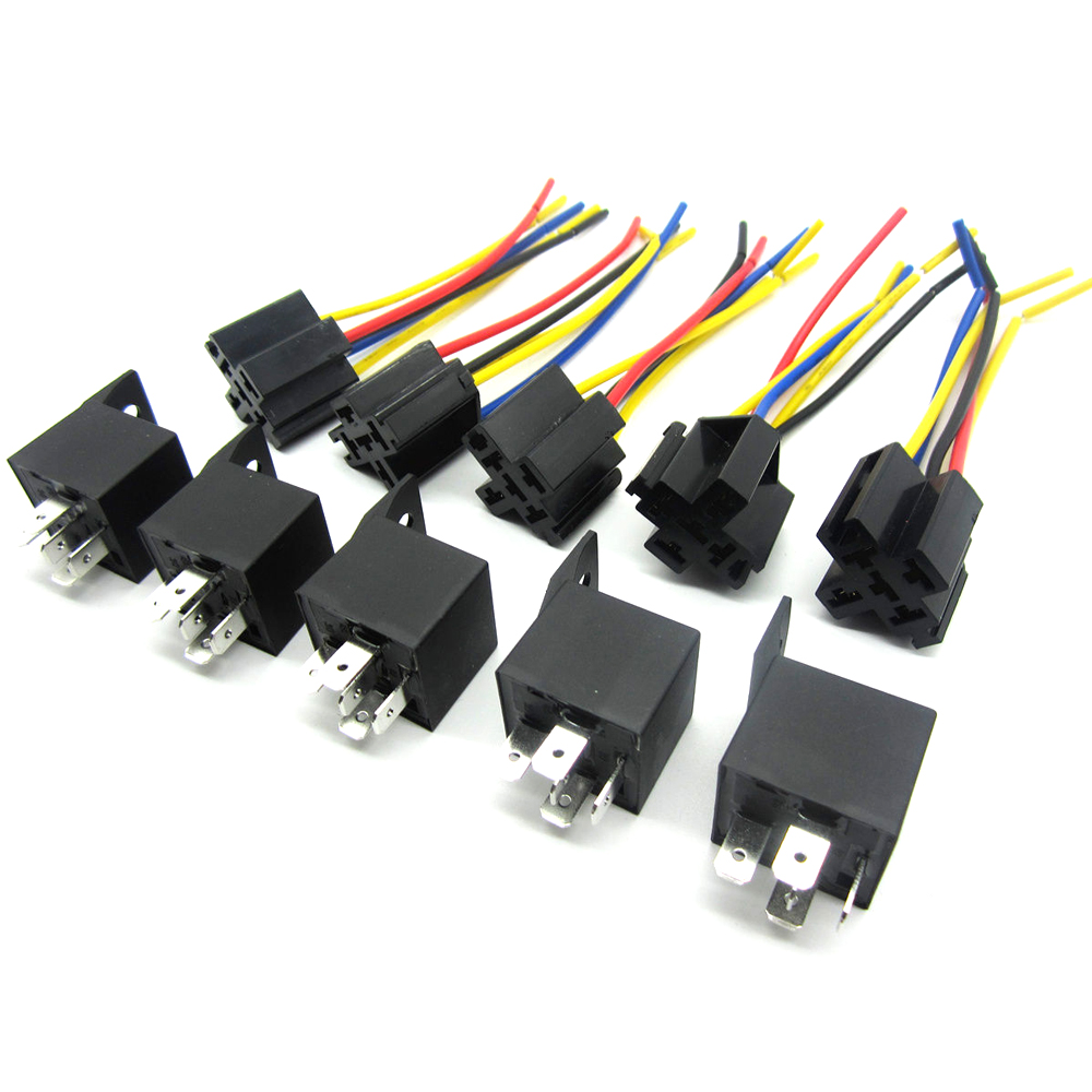 5pcs 12V Volt SPDT Relay + Wire Socket Car Automotive Alarm 40 AMP ...