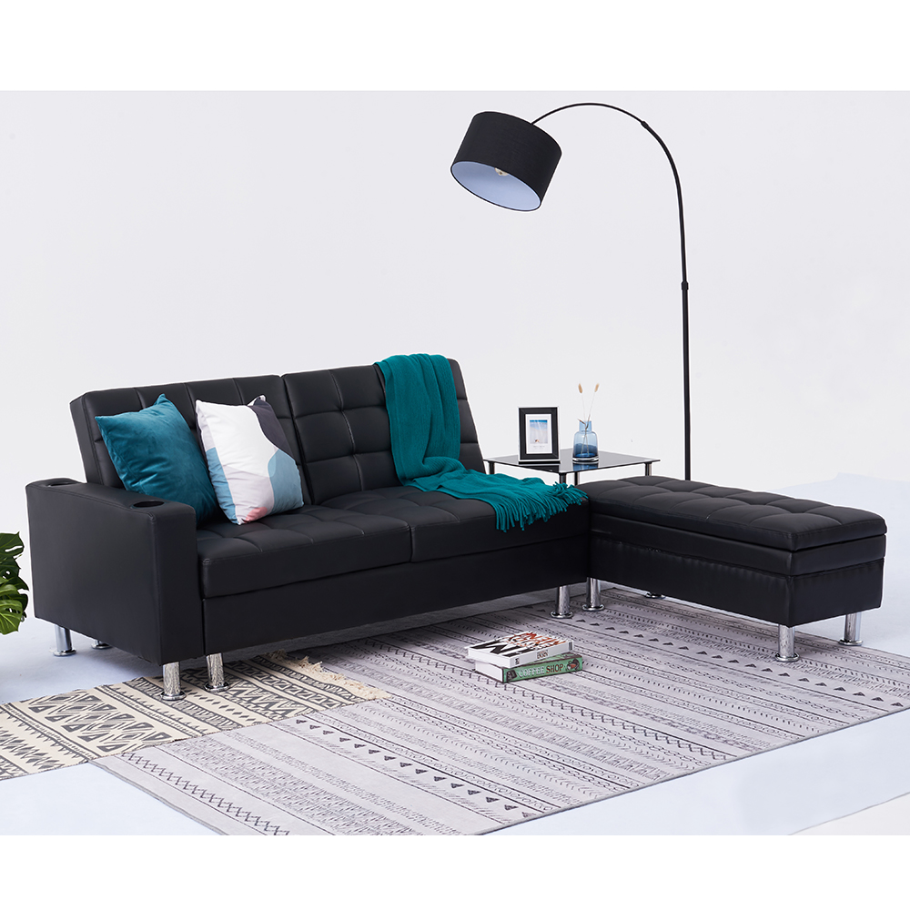 Marvelous Faux Leather Corner Sofa Bed With Storage Pdpeps Interior Chair Design Pdpepsorg