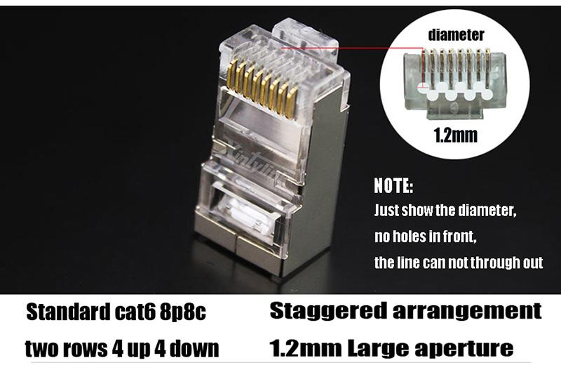 lot rj45 Connector Cat6 Shielded Network Connectors rj45 Plug Terminals 50pcs