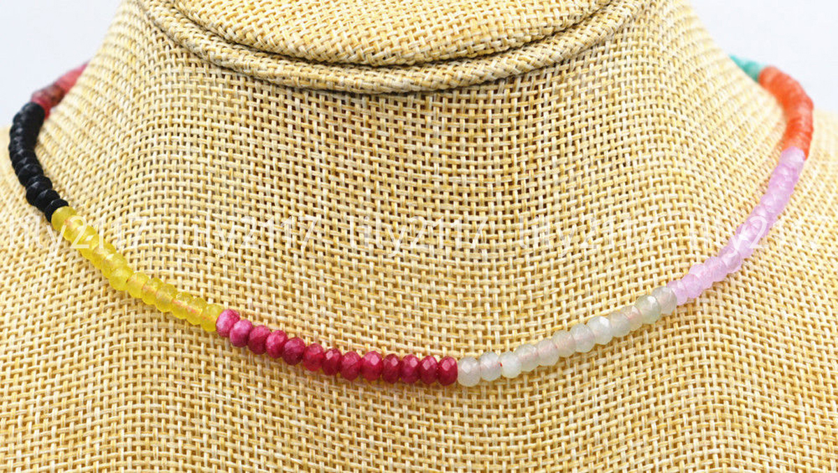 """2x4mm Faceted Brazil Multi-color Handmade Gemstone necklace 18"""" Silver clasps AA"""