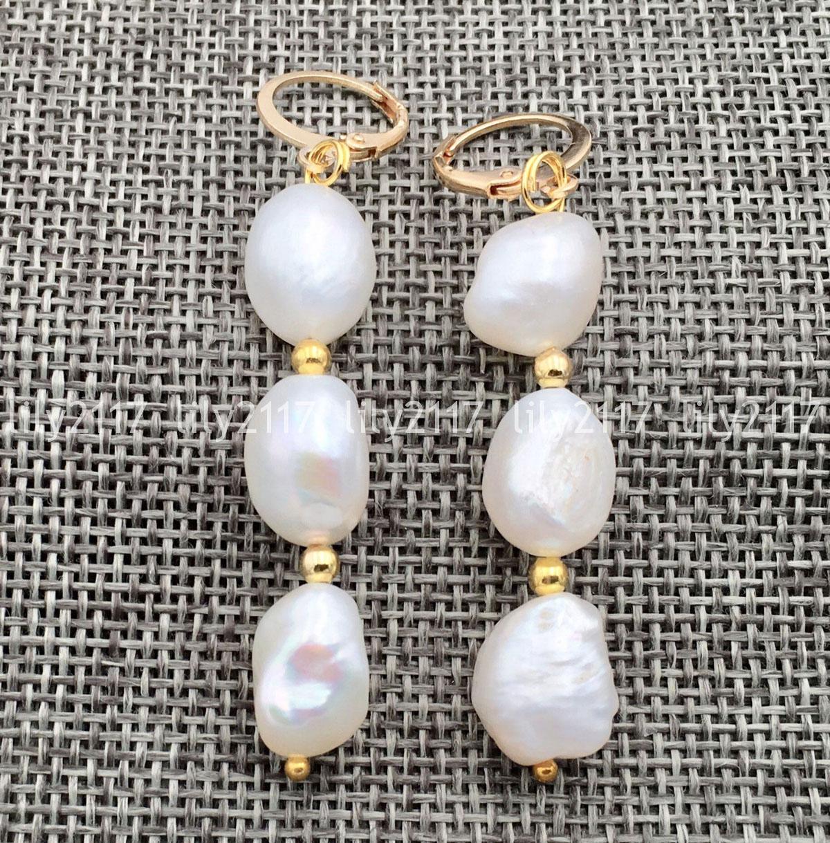 Nouveau PRETTY WOMEN/'S Genuine Natural Akoya Freshwater Pearl Dangle Earrings