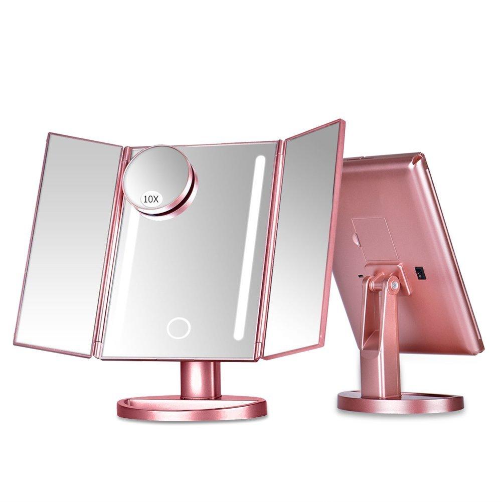 led beleuchtung kosmetikspiegel schminkspiegel mit 10 fach vergr erung spiegel ebay. Black Bedroom Furniture Sets. Home Design Ideas