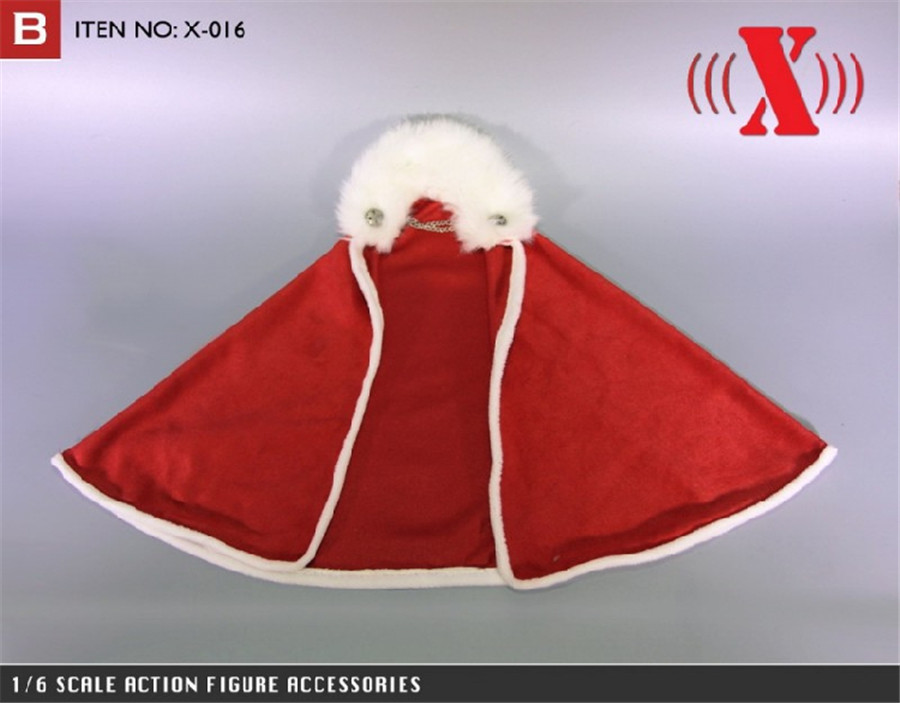 Red 1//6 Christmas Cloak Cape Clothes for 12 inch DID TTL Enterbay Sideshow