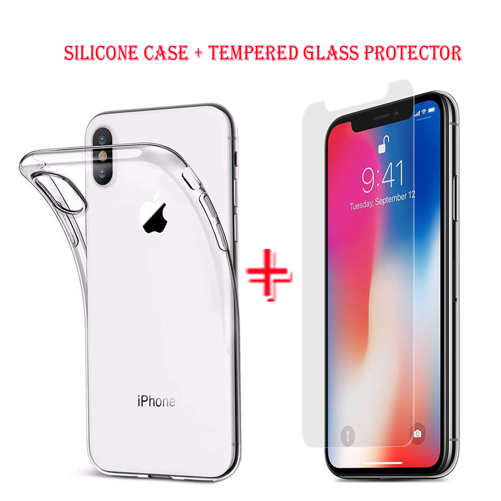 Details about Silicone Case & Tempered Glass Screen Protector For iPhone XS  MAX Samsung S10 9