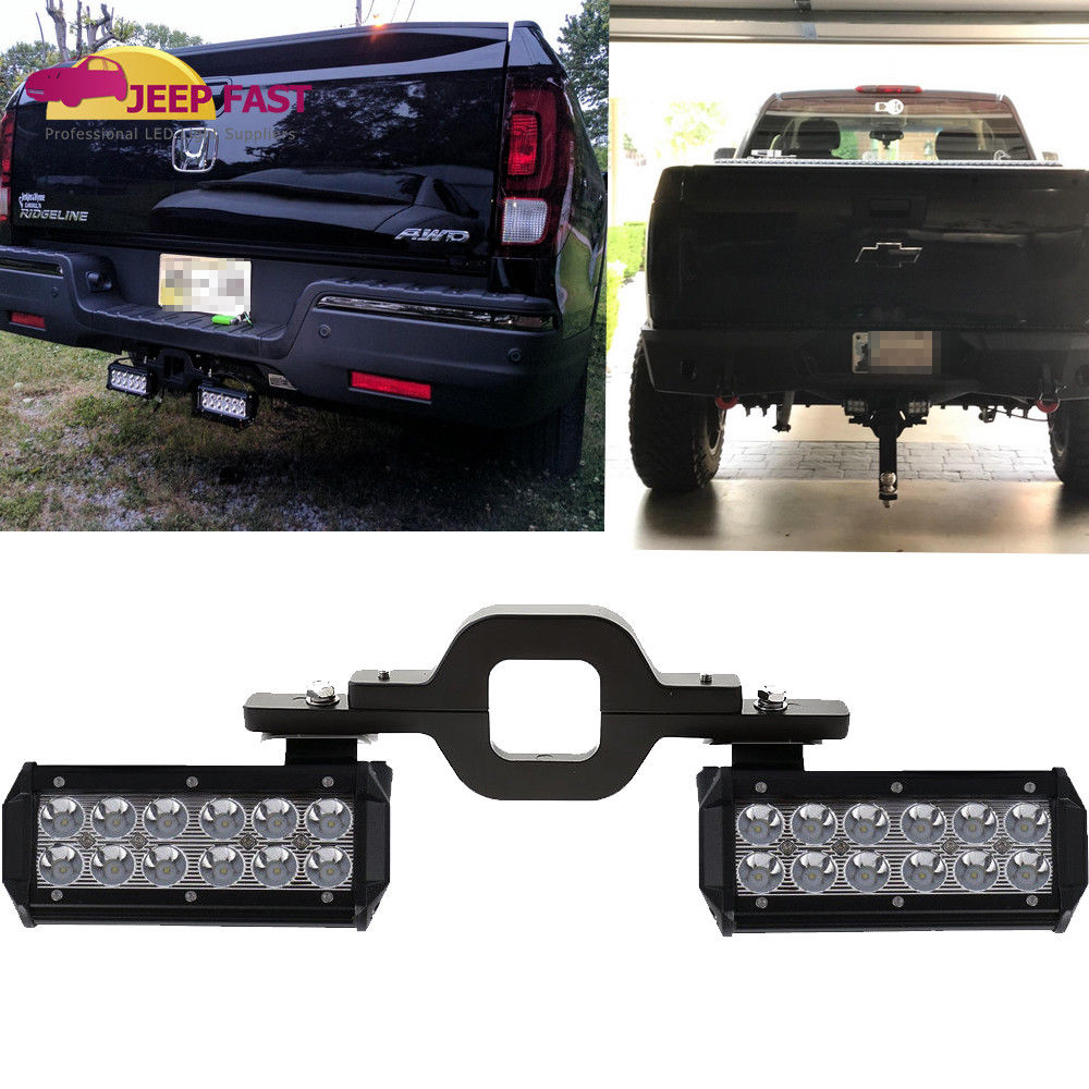 Tow hitch mounting bracket w dual led light bar reverse truck light tow hitch mounting bracket w dual led light bar reverse truck light off road aloadofball Choice Image