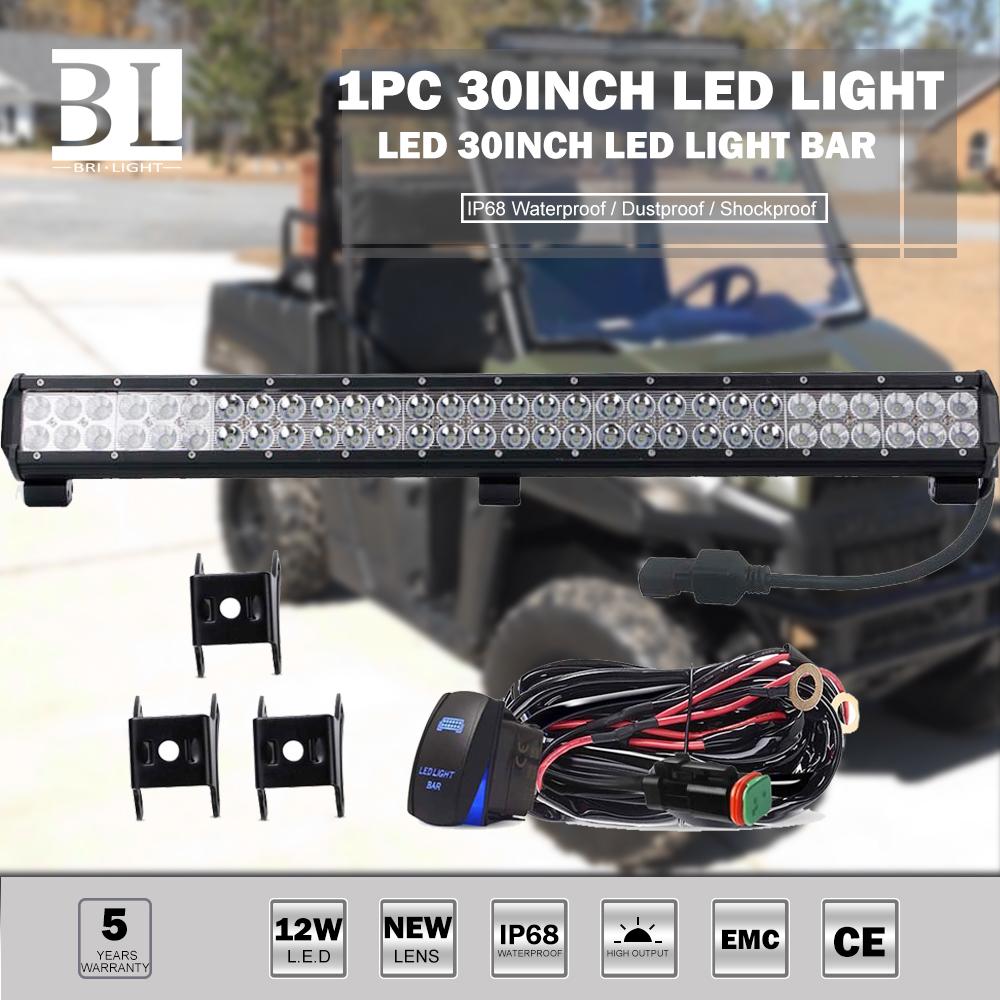 30 Led Work Light Bar Combo Switch Wiring Harness Kit For Golf Cart Polaris Rzr