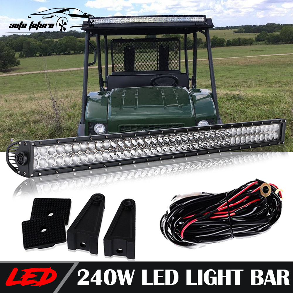 Utv Led Light Bar Combo Fit Kawasaki Mule 610 40 42 Straight W Car Blue Red Rocker Switch Wiring Harness With 40a Relay Mount