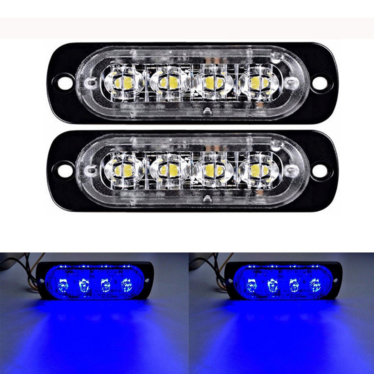 2x Blue Auto Suv 4 Led Strobe Lights High Power Warning Emergency Flash Light