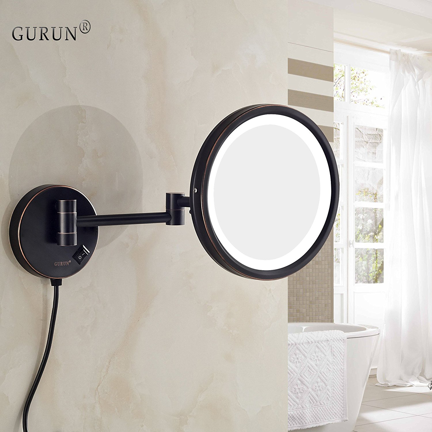 Gurun Bath Wall Mount Lighted Makeup Mirror With 7x