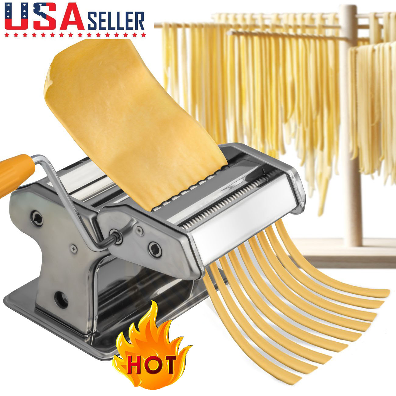 Details about Steel Pasta Maker Noodle Making Machine Dough Cutter Roller  with Handle