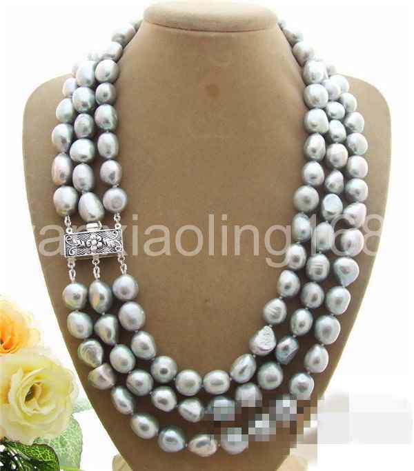 d0c138db17420 Details about triple strands 10-11mm south sea silver grey baroque pearl  necklace 17