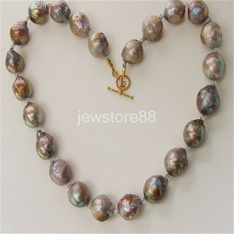 huge15-17mm south sea baroque gold PURPLE pearl necklace 18inch