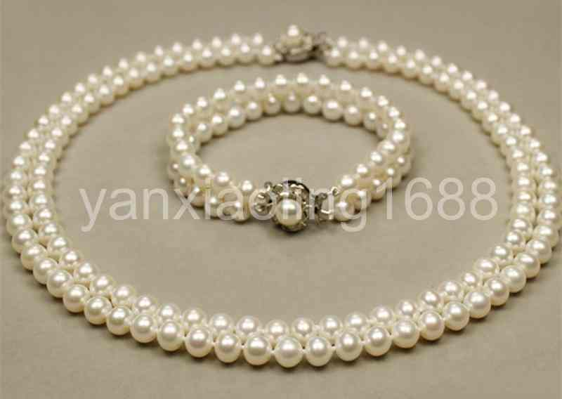 wholesale 10 Strands genuine 7-8mm white pearl necklace 925 silver clasp AAA+