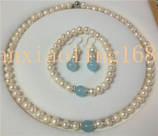 Natural 7-8mm White Pearl /& Blue Aquamarine Necklace Bracelet Earrings Set 18/'/'