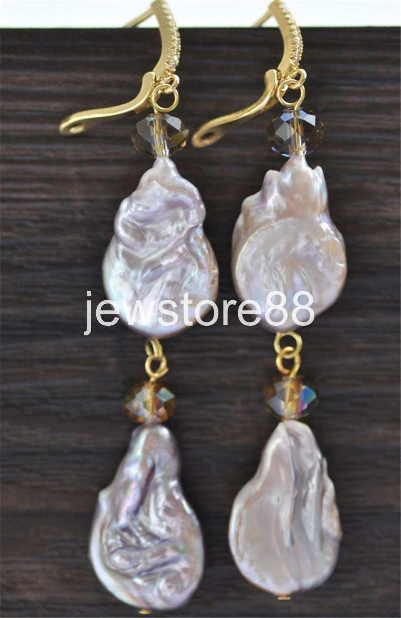 HUGE 14x16 mm white baroque drip keshi reborn pearl dangle earring