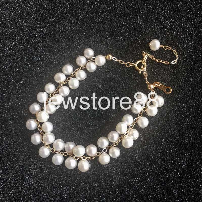 "Nouveau Exquisite 14K OR MASSIF 4 mm /& 4 mm Naturel Pearl Bracelet Bracelet 9-10/"""