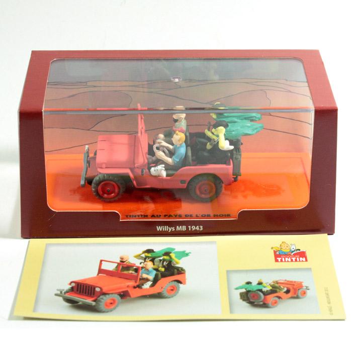 143 Tintin Milou Car Red Jeep Willys Mb 1943 Box Diorama