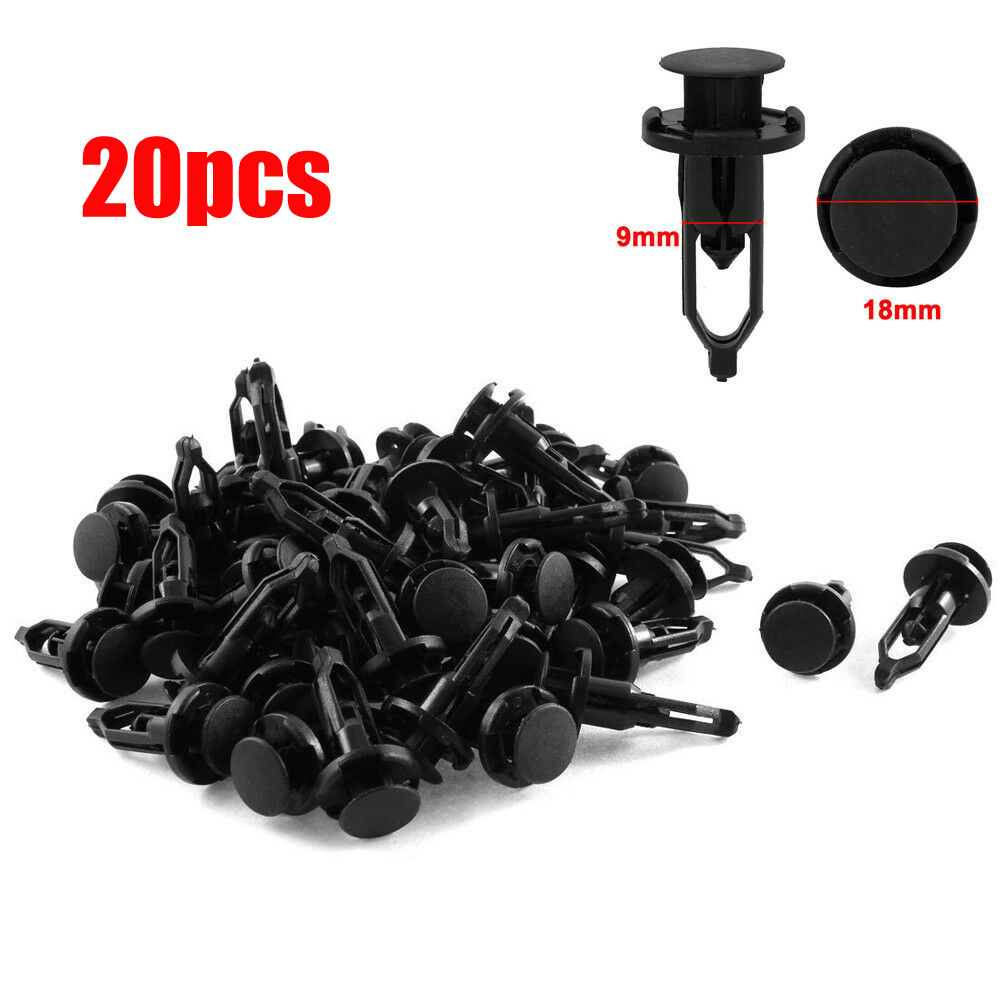 9mm x 18mm x 22mm Plastic Car Bumper Fender Trim Clips Rivets Retainer 20pcs