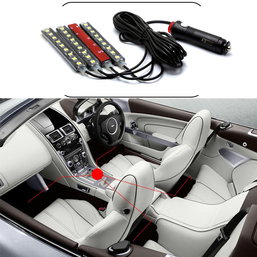 4pcs 9 Led 5050 Red Charge Interior Accessories Foot Car Decor Light