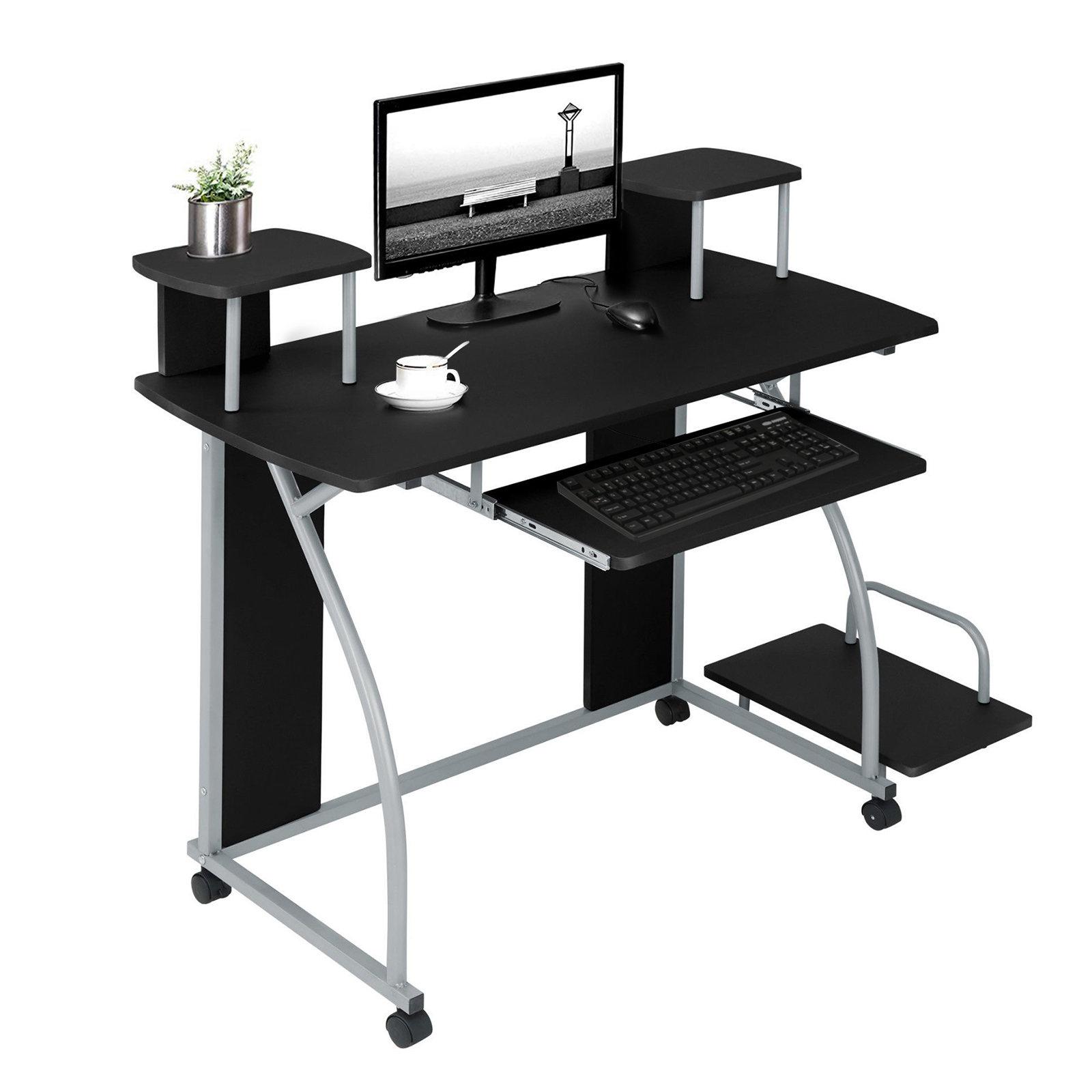 Details about Small Black Computer Desk with Sliding Keyboard Tray Gaming  Workstation Table