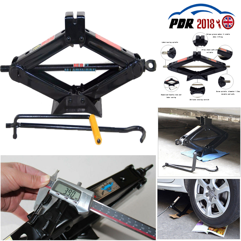 2T Tonne Scissor Wind Up Jack for Car Van W// Crank Speed Handle Garage Emergency