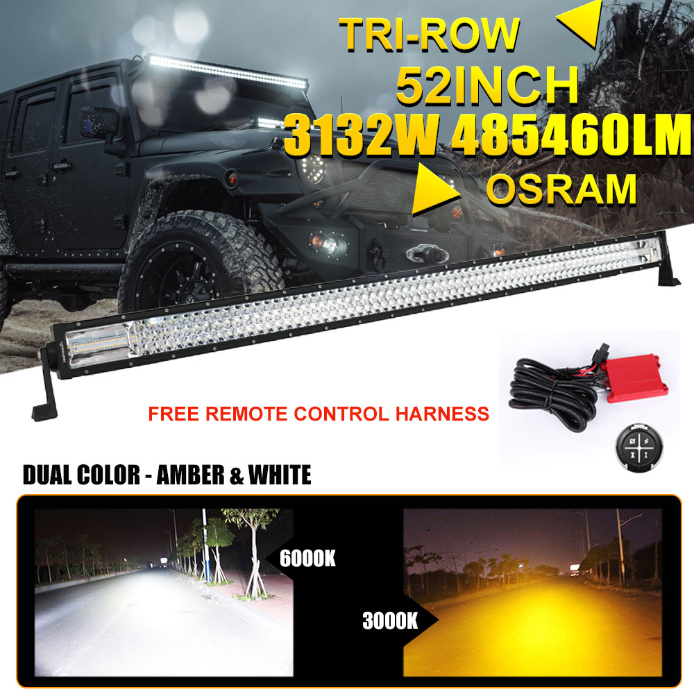 Pick up off road light wiring product wiring diagrams tri row 52inch 50 3132w osram led light bar spot flood offroad rh ebay com light bar wiring led light bar wiring harness asfbconference2016 Images