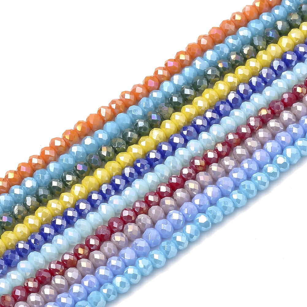 10 Strds Opaque Glass Beads Rondelle Faceted Tiny Loose Beads 3mm 4mm 6mm 8mm