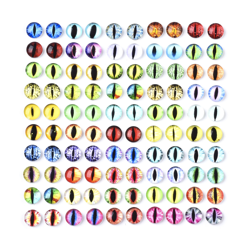 100pcs Flat Back Glass Cabochons Round Dragon Eye 50-Colors Dome Cameos 6~12mm