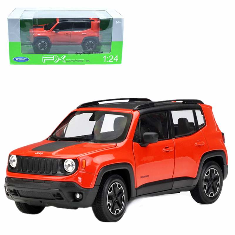 Jeep Renegade Orange >> Details About Welly 1 24 Jeep Renegade Diecast Metal Model Car Orange