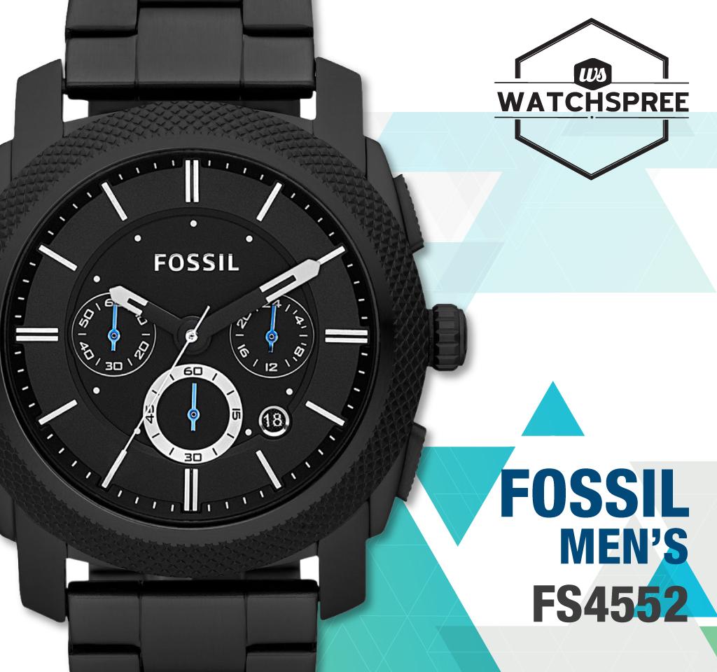 Fossil Machine Chronograph Men's Black Stainless Steel Watch FS4552