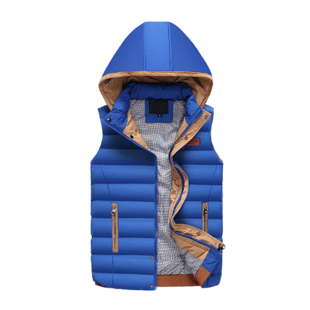 Classic-Men-039-s-Hooded-Cotton-Down-Jacket-Vest-Gilet-Zip-Coat-Outwear-Comfy-Thick