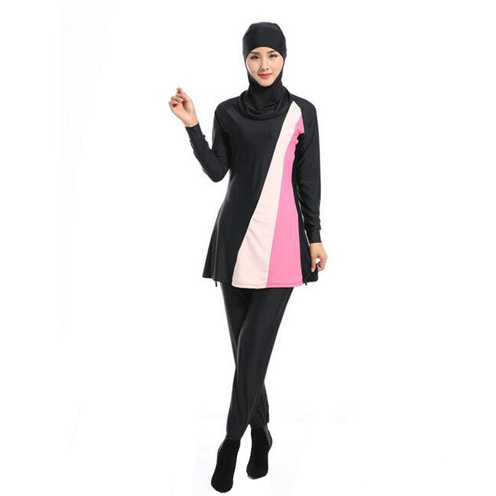 5cb6dece32648 Full Cover Muslim Swimwear Attached Hijab Islamic Swimsuit Burkini For Women