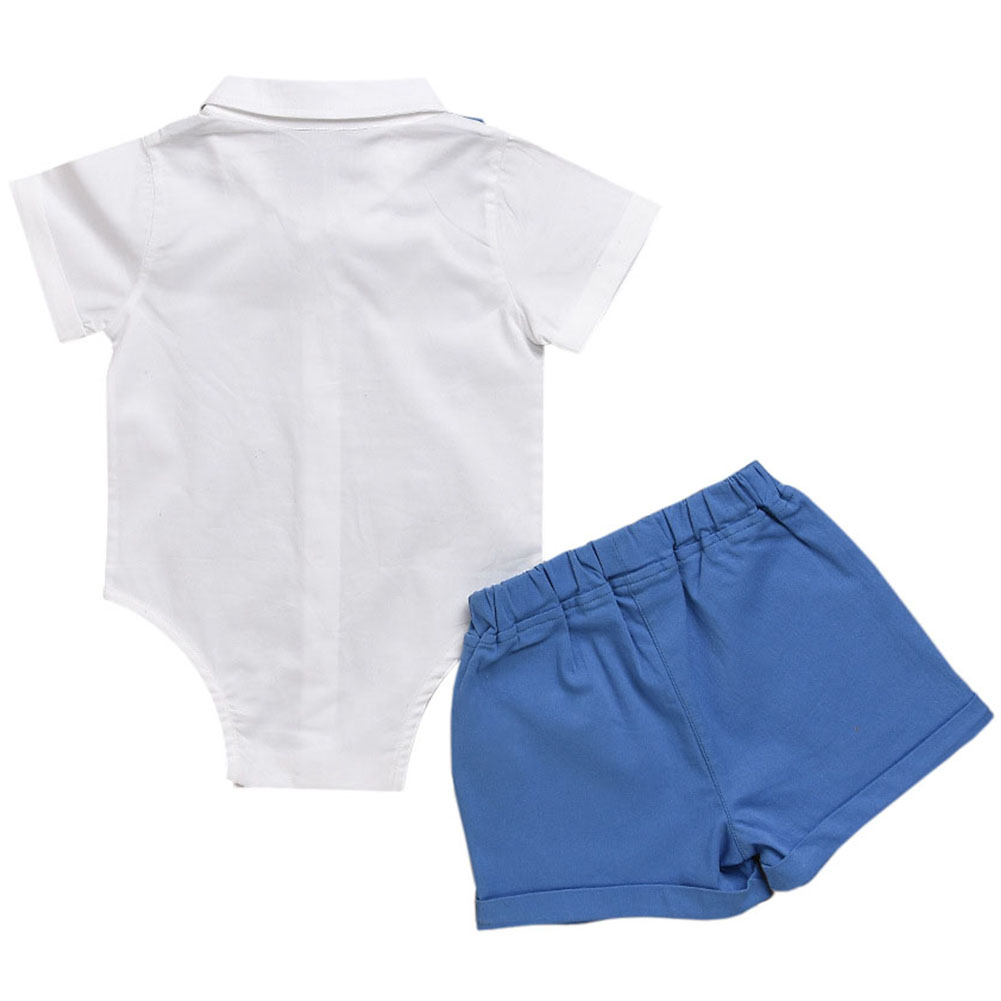 Baby Boys Suit White Shirt + Short with Bowknot Gentleman Party ...