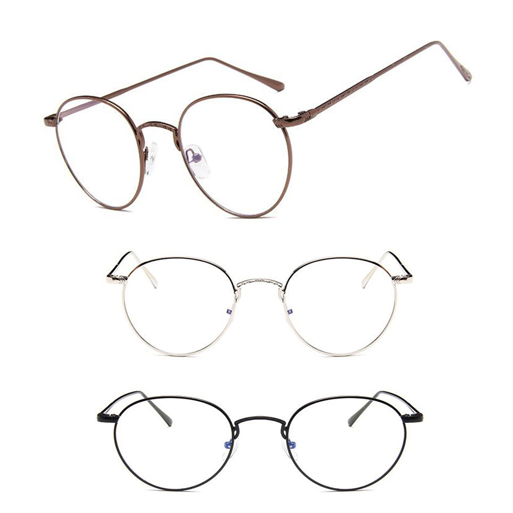 Details about Fashion Vintage Round Glasses Metal Frame Clear Lens Hinge Glasses For Women Men
