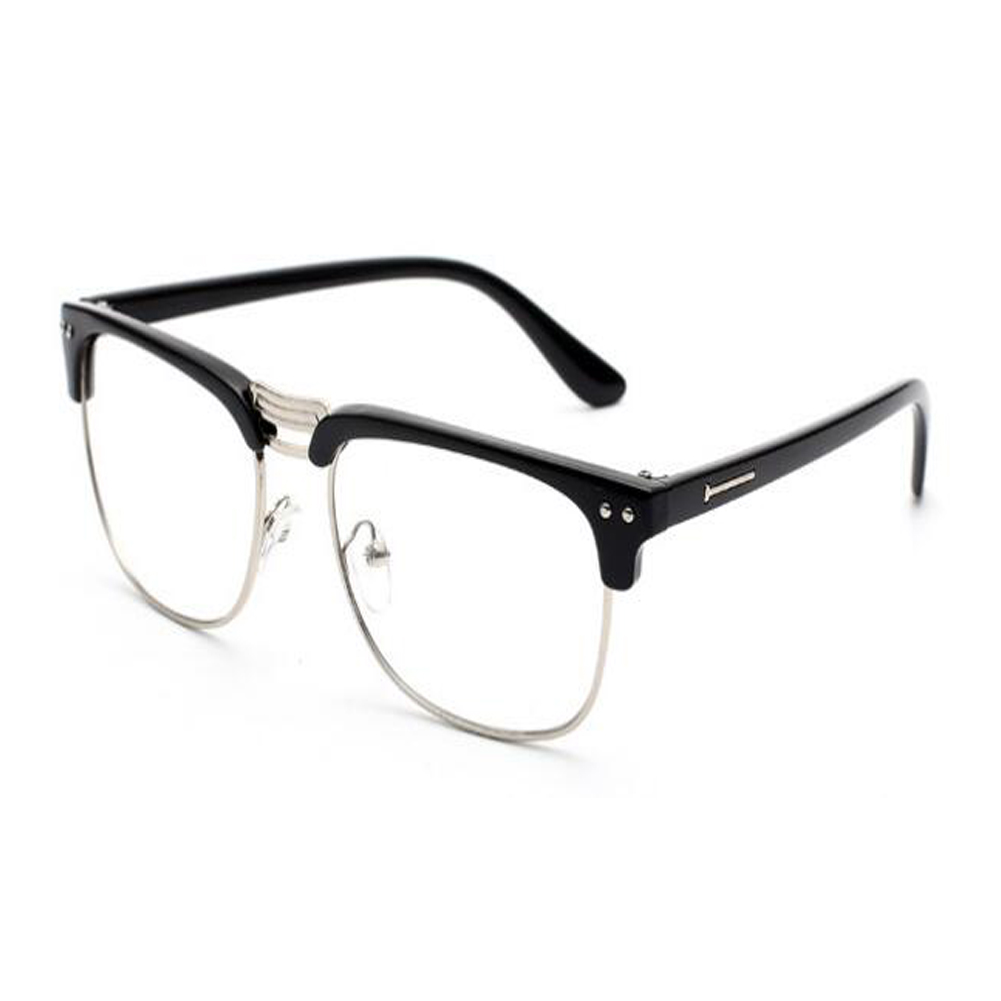 TT Semi-rimless Glasses Computer Vintage Clear Lens Blue Light ...