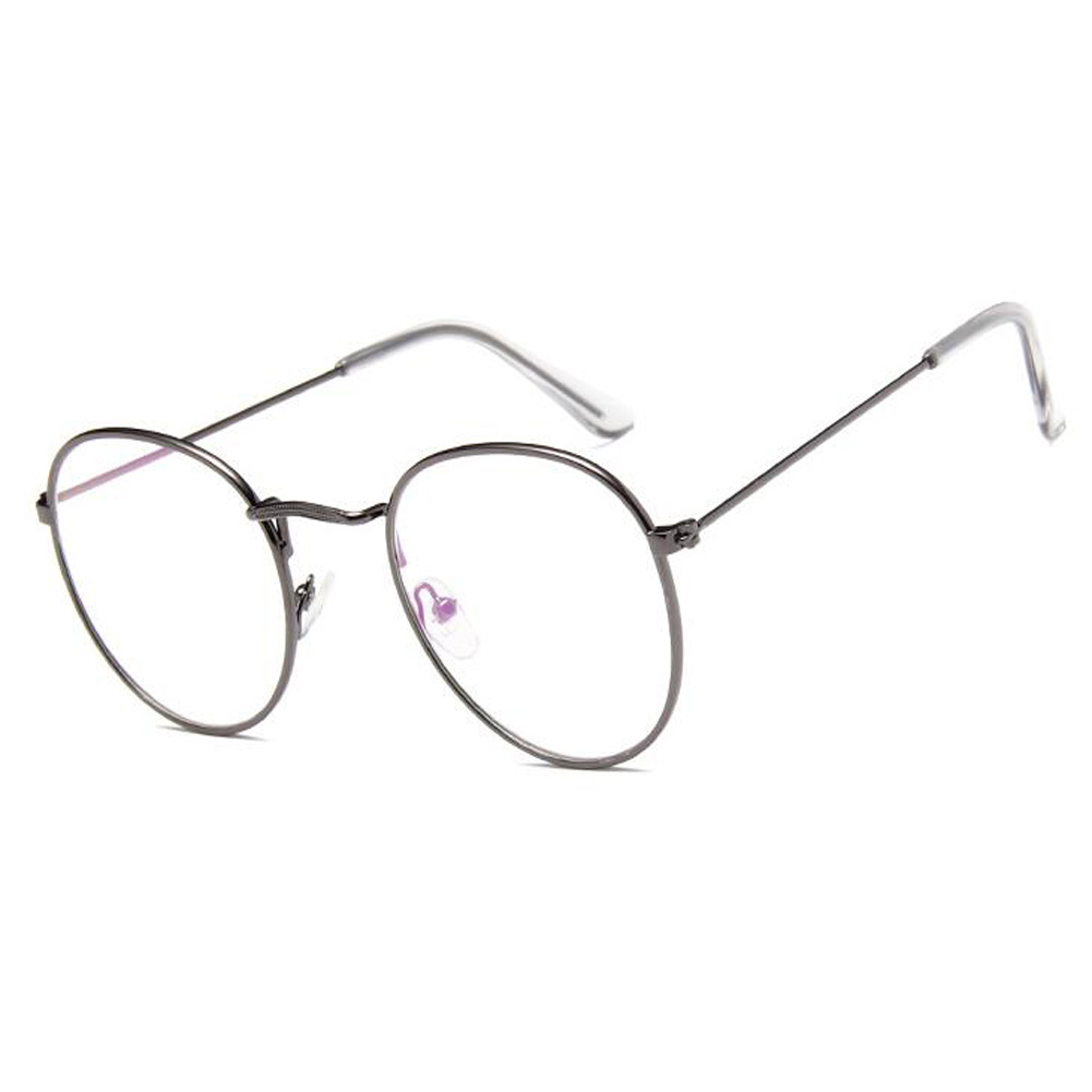 UK Retro Fashion Glasses Round Metal Frame Clear Lens Glasses ...